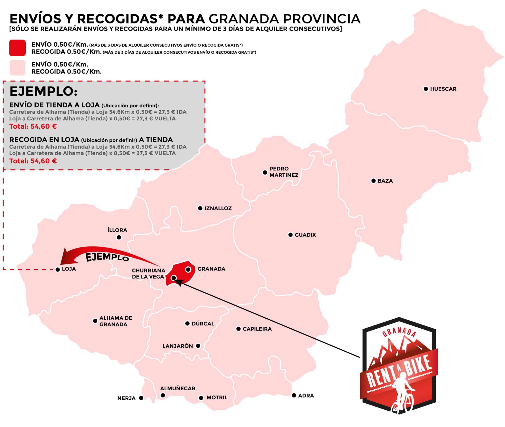 Mapa precios rent a bike granada